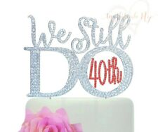 40th Ruby Wedding Anniversary cake topper made in ruby red crystal rhinestones