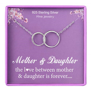 Mother Daughter Necklace for Mum 925 Sterling Silver Mother to Daughter Necklace
