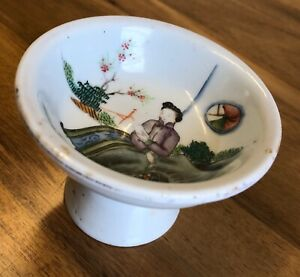 Chinese Antique Porcelain Tazza -  Famille Rose late 19th century Qing dish wear