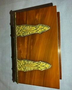 Superb Old Vintage Bakelite Box in the form of a Book - Butterscotch / marble