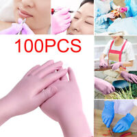 100PCS S Disposable Gloves Medical Nitrile Powder Free Non Vinyl Latex Pink