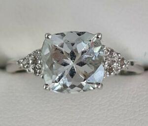 Stunning New 9ct White Gold Aquamarine & Diamond Ring Size N R13543