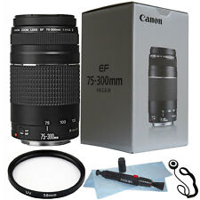 Canon EF 75-300mm f/4.0-5.6 III Autofocus Lens Bundle For Canon T6 T6I 70D 80D