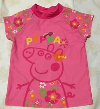 New Peppa Pig Rash Vest Kids Swim Top Size 3 4 6 Free Post Upf50+