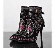 Multi-Coloured Zip Slim Heel Boots for Women