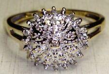Uk Hallmarked 9ct Yellow Gold Diamond Cluster Engagement Ring, Sz P/Q