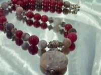 Striped Grey Agate Ruby Art Glass Vintage 80's Nice Toggle Clasp Necklace 852f1