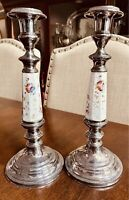 """Antique Pair 11"""" SilverPlate W/French Porcelain Floral Painted Candlesticks."""