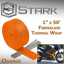 "1"" x 50' Ft Motorcycle Header Exhaust Heat Wrap Fiberglass Manifold - Orange (C)"