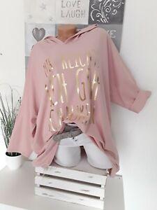 """Italy Damen Hoodie Shirt 50/52 NEU Vokuhila""""Mir reichts ich geh Schaukeln""""rosa"""