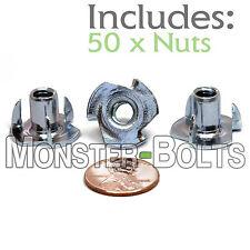 "1/4-20 x 7/16"" – Qty 50 – 3 Prong Tee Nut Straight Barrel Zinc Plated T-Nut"
