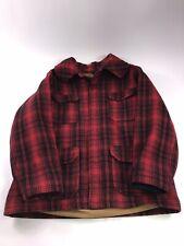 VTG MEN WOOLRICH Red Black Buffalo Plaid Wool Cruiser Hunt Coat Jacket MACK 43