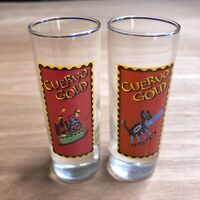 Vintage 1994 Jose Cuervo Primo Tequila Clear Shot Glasses Yellow Panel Set Of 2