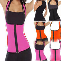 Sweat Body Shaper Womens Slimming Waist Vest Thermo Neoprene Tops Trainer Zipper