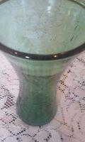 Beautiful Murano Art Style Dark Green Hand Blown Crackled Glass Vase