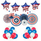4th of July Decorations USA Star Balloons, Paper Fan for Patriotic Decorations
