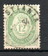 NORWAY , 1884 , very scarce CLASSIC TOP STAMP , 12 ÖRE GREEN , VF USED !