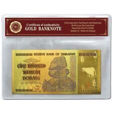 WR Simbabwe / Zimbabwe 100 Trillion Dollar Farbe Gold Banknote Sammlerstücke