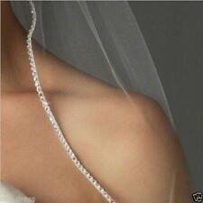 New 1T White/Ivory Wedding Bridal Elbow Rhinestone Edge Veil With Comb