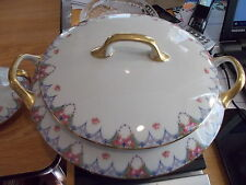 LIMOGES Old Abbey Round Covered Vegetable - Pink Roses w/Blue Trim & Gold Rim