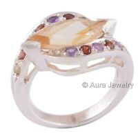 Multi Stones Gemstone Solid 925 Sterling Silver Ring Jewelry R1523-1