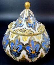 Antique Old Rare Quality Bohemian French ? Glass Jar Enamel Gilded Fleur De Lis