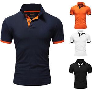 Herren Basic Poloshirt Kontrast Kurzarm Polohemd Kragen T-Shirt R50104