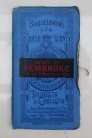 "BARTHOLOMEW'S PEMBROKE Tourists & Cyclists 1917-19 Linen 1/2"" MAP Sheet 21"