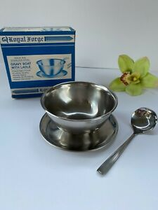 Vintage NEW Royal Forge Solid Stainless Steel Gravy Boat with Ladle NOS In Box