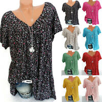 Women Boho Floral V Neck Short Sleeve Loose T-shirt Summer Casual Tee Top Blouse