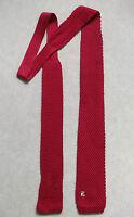 Vintage Tie MENS Necktie FLAT END Knitted 1970s CLARET RED WINE