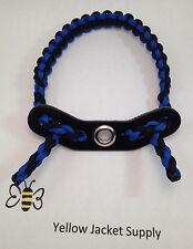 Paracord Bow Wrist Sling Blue / Black Leather Yoke Archery