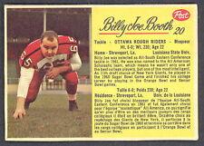 1963 POST CFL FOOTBALL #20 JOE BOOTH EX-NM OTTAWA ROUGH RIDERS Louisiana state