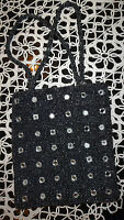 Gorgeous Silk, Black & Grey Beaded  Evening Bag Small