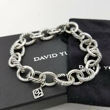 David Yurman Sterling Silver Classic Cable 12'mm Oval Link Chain 7.5 In Bracelet