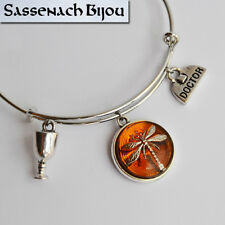 Claire Fraser Dragonfly in Amber Silver Bangle Bracelet - Outlander Jewelry