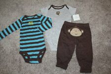 Carter's Baby Boy Monkey 3pc Outfit Set Brown Gray Blue Size 9 Months 9M 6-9 NWT