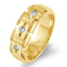 0.25 Ct Three Stone Men's Round Diamond Wedding Vs1 Band Ring 14k Gold Yellow