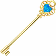 Blue Industrial Barbell ear jewelry Key with Opalite Gold Anodized 14 gauge 38mm