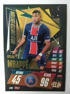 MATCH ATTAX 2020/21 LIMITED EDITION LE8G KYLIAN MBAPPE GOLD MINT