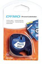 Ruban Dymo pour Etiqueteuses LetraTag, Plastique, 12 mm x 4 m, Noir sur Fond Bla