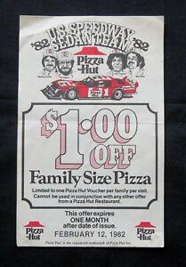 1982 USA SPEEDWAY SEDAN TEAM PIZZA HUT VOUCHER *RARE*