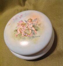 Limoges Signed Hand Painted Cherub LARGE  Porcelain Dresser Powder Box