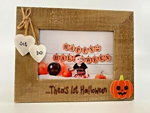 Baby's First Halloween - Personalised Driftwood Photo Frame Pumpkin Decoration