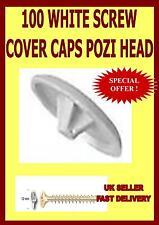100 WHITE SCREW COVER CAPS POZI HEAD