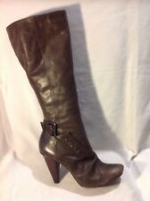 Bronx Brown Knee High Leather Boots Size 40