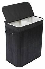 BIRDROCK HOME Double Laundry Hamper with Lid and Cloth Liner - Bamboo - Black -