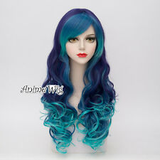 Lolita 65CM Turquoise Green Mixed Purple Long Curly Hair Ombre Lady Cosplay Wig