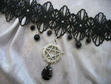 Pentacle Lace Necklace Halloween Horror Choker  Gothic Necklace Silver Beaded