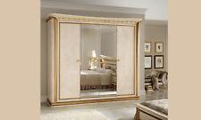 Kleiderschrank Schlafzimmer Schrank Spiegeltüren Hochglanz Elfenbein Stil Möbel